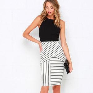 Kiss Cross Black and Ivory Striped Midi Dress